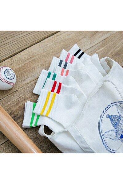 Unisex Beyaz Koton Ekonomik Desenli Tenis Çorap  8 Çift
