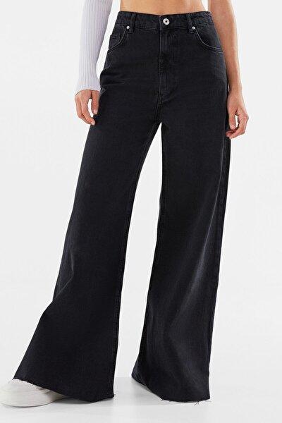 Kadın Siyah Wide Leg Jean