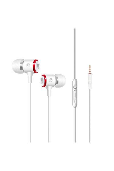 Beyaz Jb-19 Pro Mikrofonlu Kablolu Kulak Içi Kulaklık ve Özel Taşıma Çantası
