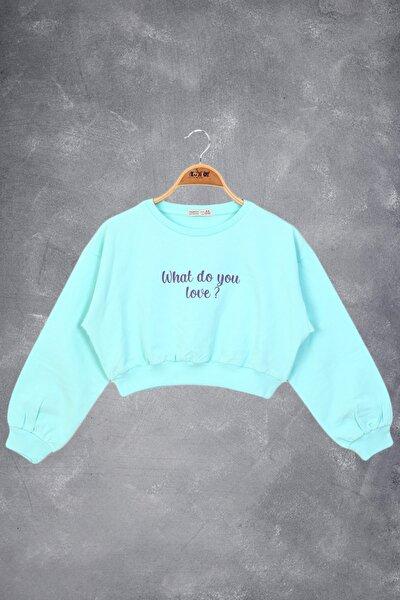 Kız Çocuk Basklı Crop Sweatshirt
