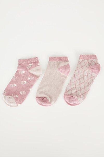 Kadın Pembe Desenli Patik Çorap 3lü