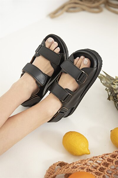 Kadın Cırt Detay Günlük Deri Sandalet Siyah