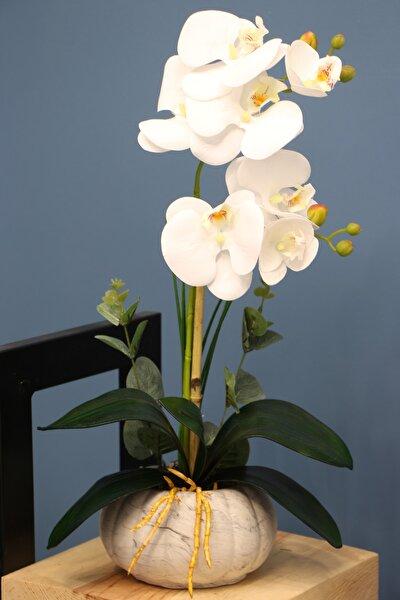 Dekoratif 2li Mini Yapay Islak Orkide Tanzimi Beyaz 45 Cm