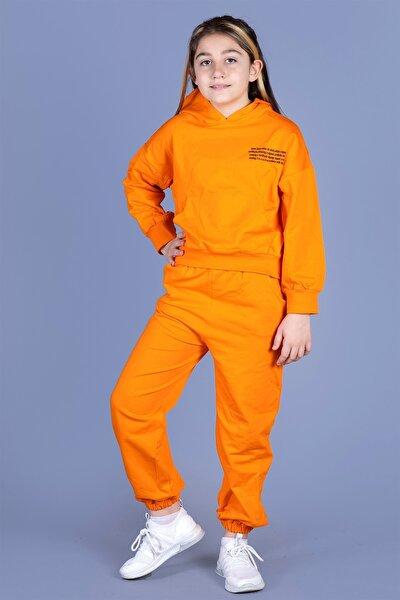 Kız Çocuk Turuncu Baskılı Takım