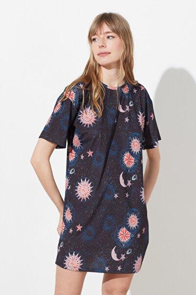 Siyah Baskılı Mini Örme Elbise TWOSS21EL1414