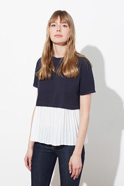 Lacivert Piliseli Salaş Örme Bluz TWOSS20BZ1400