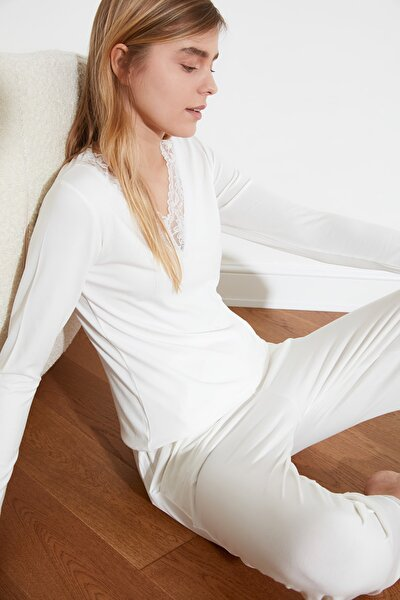 Ekru Dantelli Örme Pijama Takımı THMSS20PT0126