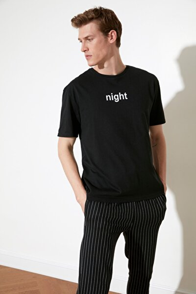 Siyah Sloganlı Örme Pijama Takımı THMAW21PT0393
