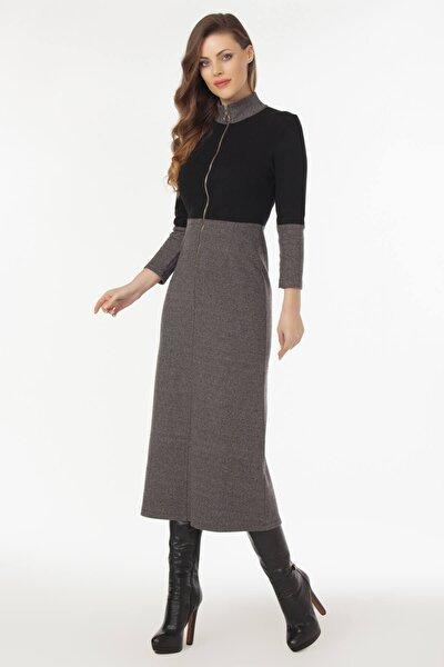 Kadın Gri Önden Fermuarlı Elbise 19L6437
