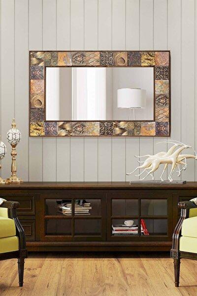 Lyon Doğal Ağaç 62x102 Cm Çerçeveli Antik Limra Taş Kaplı Salon Duvar Konsol Boy Aynası