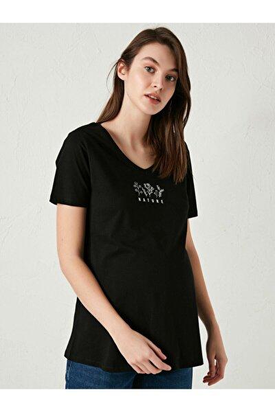 Kadın Siyah Kısa Kol Tişört