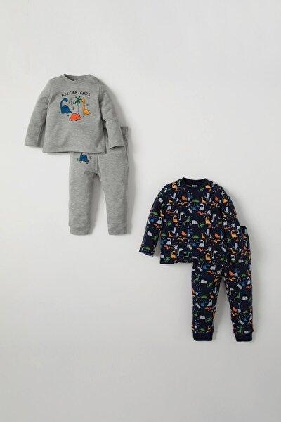 Erkek Bebek Sevimli Dinozor Baskılı 2'li  Pijama Takımı