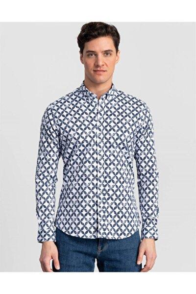 Erkek Mavi Slim Fit Baskılı Spor Gömlek