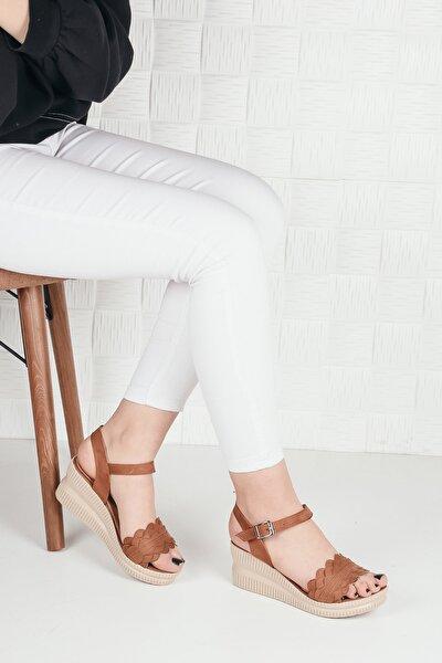 Kadın Taba Süet Dolgu Topuk Sandalet Terlik Ba20292