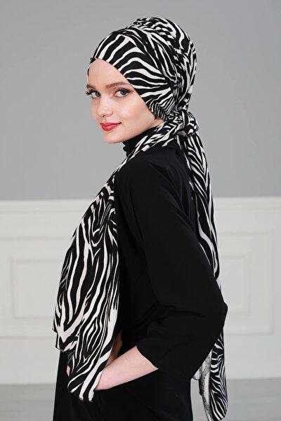 Kadın Siyah Beyaz Pratik Penye Bone Şal