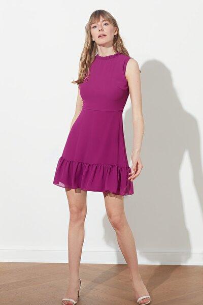Mürdüm Fırfırlı Elbise TWOSS20EL0237