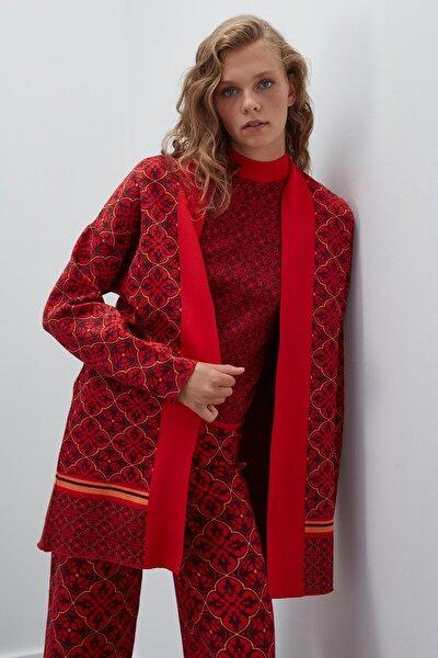 Kadın Kırmızı Simli Desenli Triko Hırka