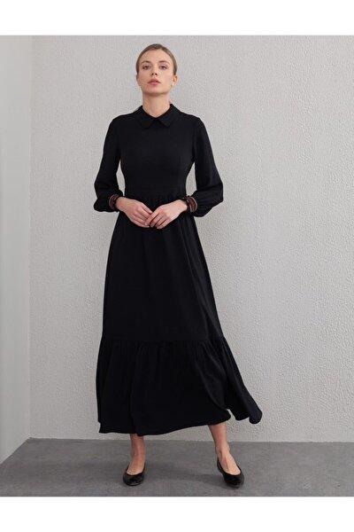 Volanlı Uzun Elbise Siyah A20 83015