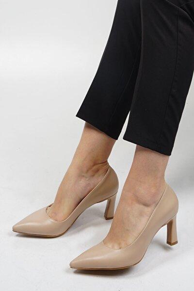Kadın Bej Stiletto Topuklu Ayakkabı Akuna