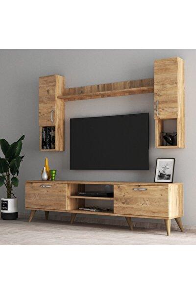 Mega 180 Lik Kapaklı Raflı Tv Ünitesi Çam - Tvu0202