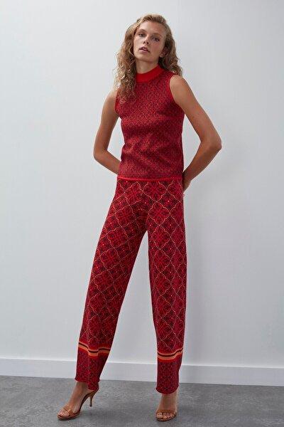 Kadın Kırmızı Desenli Beli Lastikli Simli Triko Pantolon