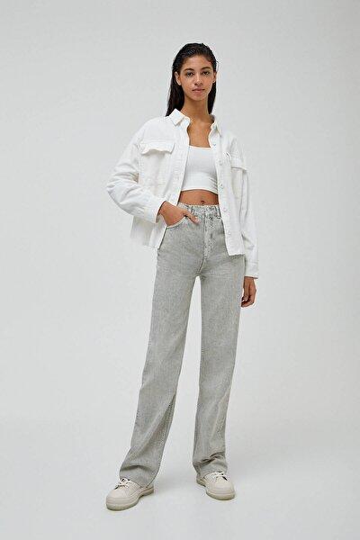 Kadın Nane Yeşili Yüksek Bel Straight Fit Jean