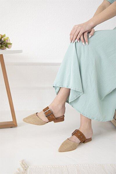 Kadın Taba Hasır Detaylı Topuklu Sandalet