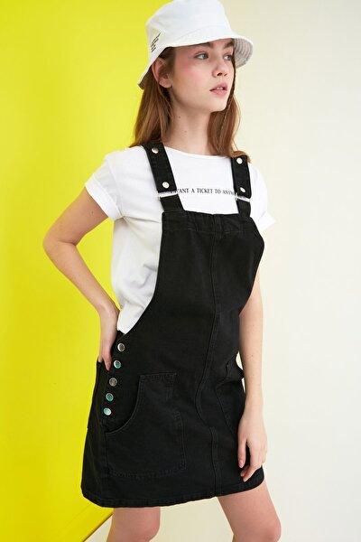 Siyah Askılı Denim Elbise TWOSS20EL0969