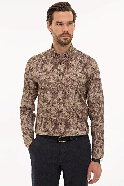 Erkek Kahverengi Slim Fit Gömlek G021SZ004.000.1109134