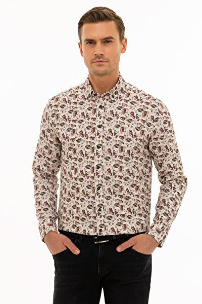 Erkek Açık Kahverengi Slim Fit Gömlek G021SZ004.000.1109132