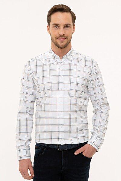 Erkek Kahverengi Detaylı Beyaz Regular Fit Gömlek G021GL004.000.1113545