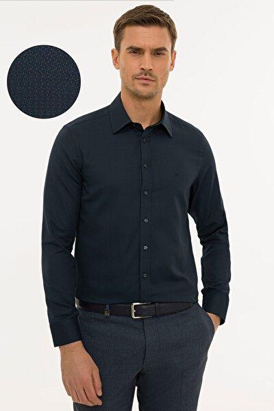 Erkek Lacivert  Slim Fit Armürlü Gömlek G021GL004.000.1214466