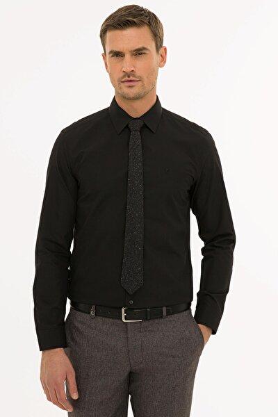 Erkek Siyah Slim Fit Basic Gömlek G021gl004.000.1214451
