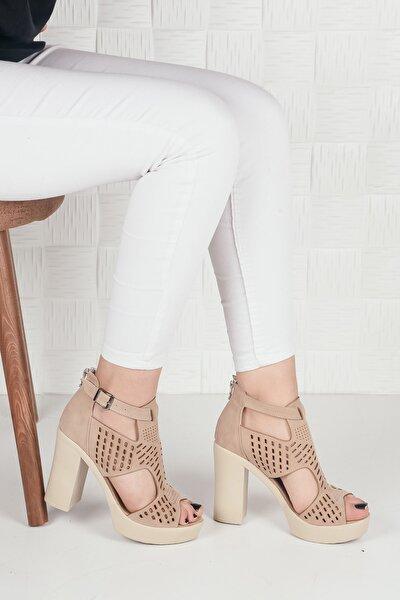 Kadın Krem Süet Yüksek Platform Topuklu Ayakkabı Ba20288