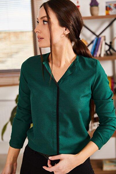 Kadın Zümrüt Önü Biyeli Bluz ARM-20K001023