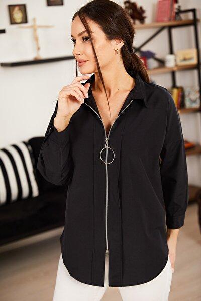 Kadın Siyah Önü Fermuarlı Salaş Gömlek ARM-21K024090