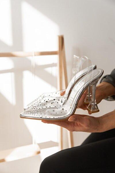 Swar Gumus Kadın Topuklu Ayakkabı