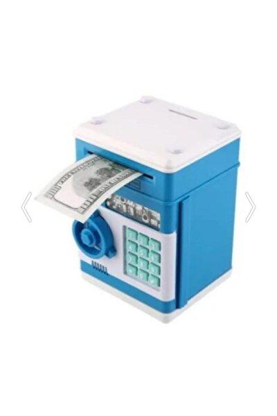 Şifreli Otomatik Kağıt Para Alan Atm Kasa Kumbara - Mavi