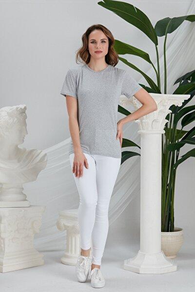 Kadın Gri Basic Örme T-shirt