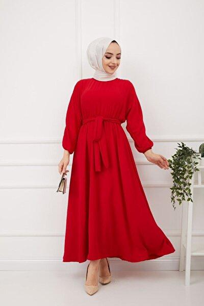 Kadın Kırmızı Kuşaklı Ayrobin Kumaş Elbise