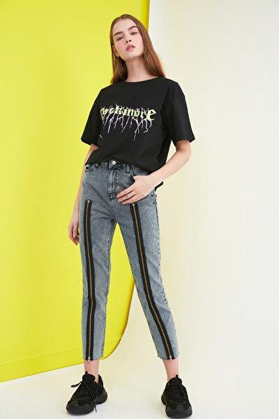 Gece Mavisi Fermuar Detaylı Yüksek Bel Mom Jeans TWOSS20JE0209