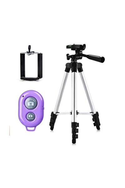 Profesyonel 105 Cm Tripod Bluetooth Kumandalı Telefon & Fotoğraf Makinesi Tripodu Metal Tripod
