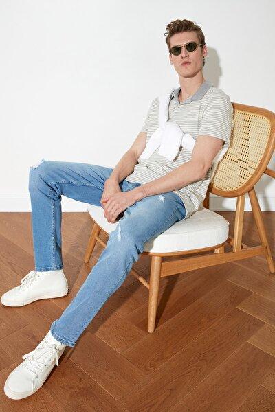 Mavi Erkek Destroylu Slim Fit Jeans TMNSS21JE0375
