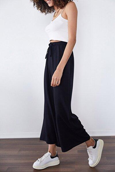 Kadın Siyah Salaş Dokuma Pantolon 1KZK5-11395-02