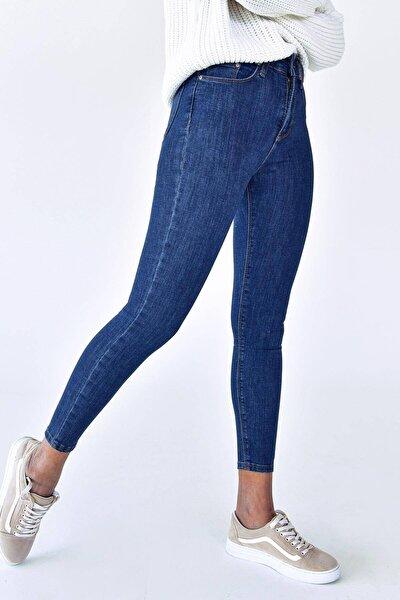 Kadın Koyu Kot Rengi Cep Detaylı Jean Pn6515 - Pnj ADX-0000021225