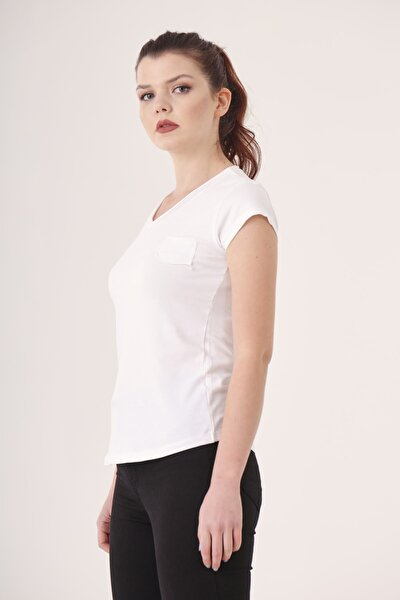 Kadın Beyaz V Yaka Tek Cep Tshirt Cty-abr-5011