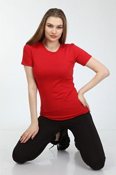 Kadın Basic Bisiklet Yaka T-shirt