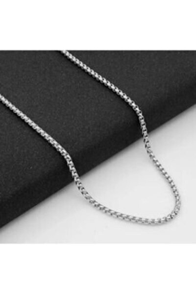 Erkek Gri Örme Model Çelik Zincir Kolye Eck0125
