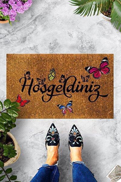 Hoşgeldiniz Kelebek Dekoratif Kapı Önü Paspası