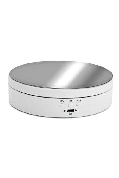 14cm Ürün Çekimi Ve Vitrin Için 3 Hızlı 360 Döner Tabla Turntable Beyaz